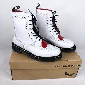 Dr. Martens Bentley II Heart White Combat Boots